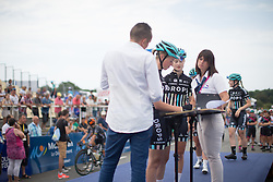 Alice Barnes (GBR) of Drops Cycling Team signs on before the start of the 121.5 km road race of the UCI Women's World Tour's 2016 Grand Prix Plouay women's road cycling race on August 27, 2016 in Plouay, France. (Photo by Balint Hamvas/Velofocus)