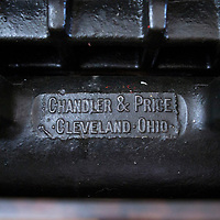 The printing press used by Joyce Li is a 1912 Chandler & Price 10x15 inch printing press, nicknamed 'Frances.' Li said she found it online in Georgia, and it weighs about a ton.