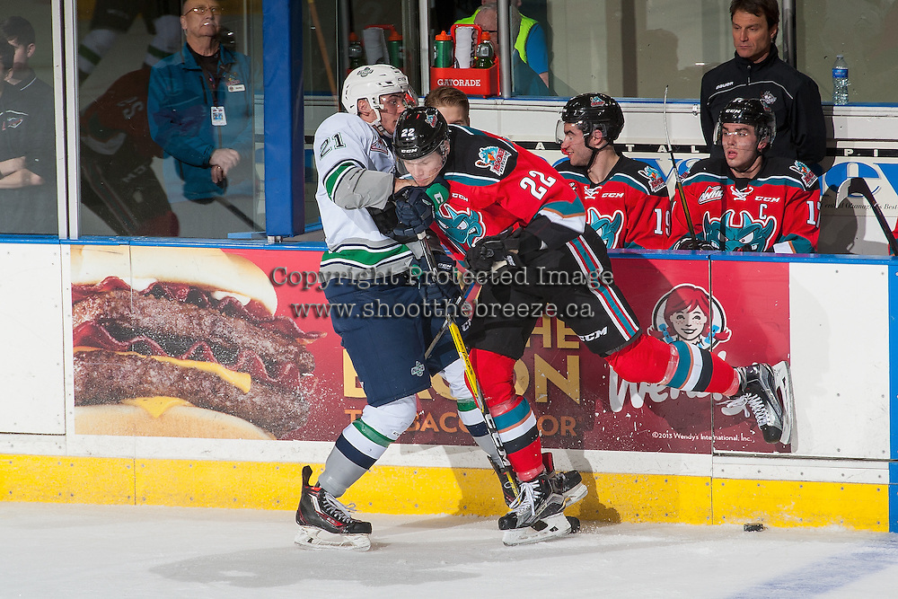 KELOWNA, CANADA - DECEMBER 7: Braydyn Chizen #22 of the Kelowna Rockets checks Matthew Wedman #21 of the Seattle Thunderbirds on December 7, 2016 at Prospera Place in Kelowna, British Columbia, Canada.  (Photo by Marissa Baecker/Shoot the Breeze)  *** Local Caption ***
