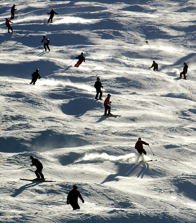 Skiers are seen on the slope at the Pico Mountain Six ski area in Killington, VT.<br /> JUSTIN LANE FOR THE NEW YORK TIMES