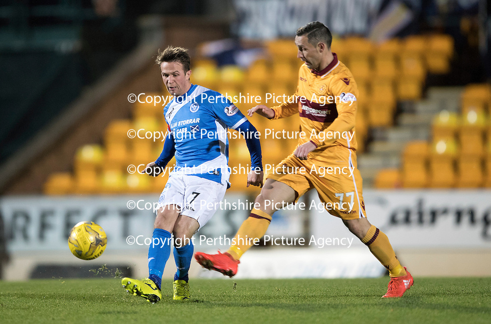 St Johnstone v Motherwell&Ouml;17.12.16     McDiarmid Park    SPFL<br /> Chris Millar and Scott McDonald<br /> Picture by Graeme Hart.<br /> Copyright Perthshire Picture Agency<br /> Tel: 01738 623350  Mobile: 07990 594431