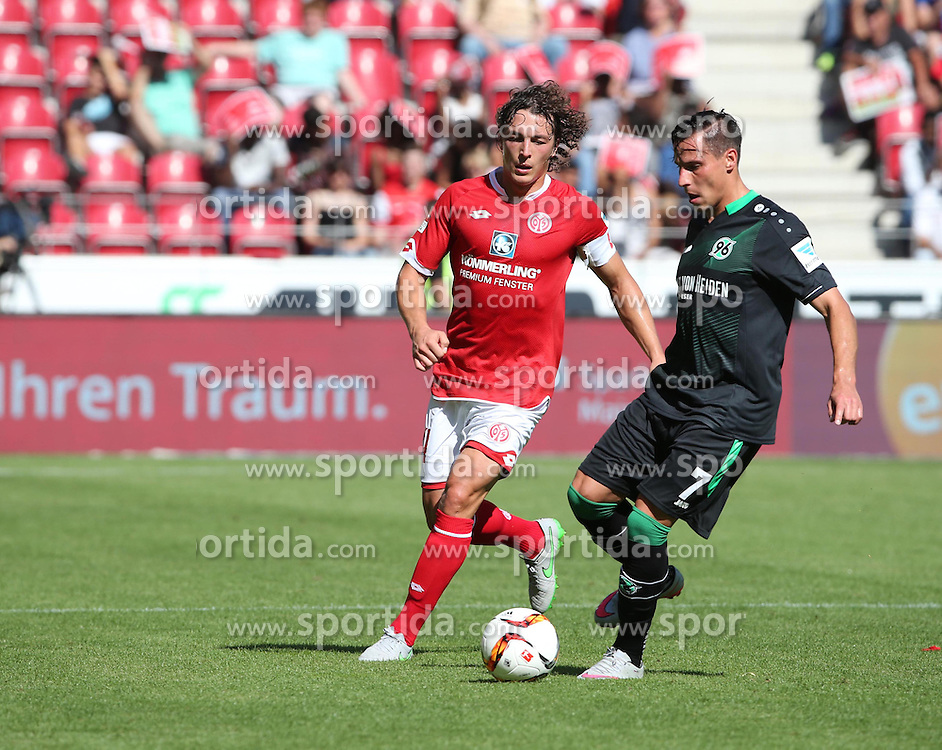 29.08.2015, Coface Arena, Mainz, GER, 1. FBL, 1. FSV Mainz 05 vs Hannover 96, 3. Runde, im Bild v.l.: Julian Baumgartlinger (MZ) gegen Edgar Prib (MZ) // during the German Bundesliga 3rd round match between 1. FSV Mainz 05 and Hannover 96 at the Coface Arena in Mainz, Germany on 2015/08/29. EXPA Pictures &copy; 2015, PhotoCredit: EXPA/ Eibner-Pressefoto/ Neurohr<br /> <br /> *****ATTENTION - OUT of GER*****