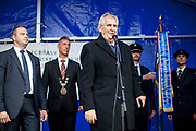 "Czech president Milos Zeman's during his public ""meetings with citizens"" at the village of Brasy located in the Pilsen Region. The mayor of Brasy -  Ing. Mgr. Miroslav Kroc (2nd. from left). Miloš Zeman (born 28 September 1944) is the third and current President of the Czech Republic, in office since 8 March 2013.  He announced his candidacy for the 2018 presidential elections which will be held in the Czech Republic on 12–13 January."