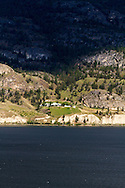 A view of God's Mountain Bed & Breakfast from the shore of Skaha Lake near Penticton, British Columbia, Canada