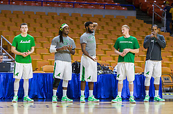 Dec 17, 2015; Charleston, WV, USA; Marshall Thundering Herd players warm up before their game against the West Virginia Mountaineers at the Charleston Civic Center . Mandatory Credit: Ben Queen-USA TODAY Sports