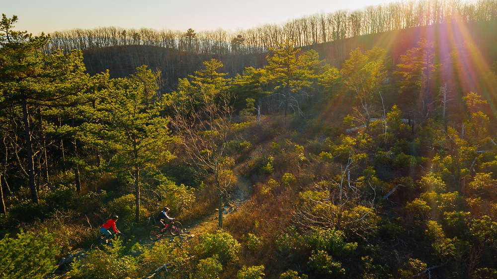 Mountain biking in the Blue Ridge Mountains.