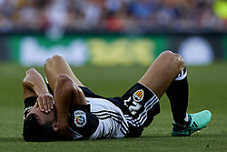 April 18, 2018 - Valencia, Valencia, Spain - Montoya of Valencia CF lays down on the pitch during the La Liga game between Valencia CF and Getafe CF at Mestalla on April 18, 2018 in Valencia, Spain  (Credit Image: © David Aliaga/NurPhoto via ZUMA Press)