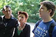 Berlin, Germany - 23.05.2016<br /> <br /> Ulla Jepke (Left Party) and Fabio Reinhardt (Pirate Party) at the press conference after the eviction of the Memorial to the Sinti and Roma Victims of National Socialism in Berlin's government district. Some Roma and Sinti, who kicked out of the memorial few hours before by the police hold a press conference. They contradicted reports that they finish their protest for the right to stay voluntarily and report that some of them were injured during the police operation. Also Uwe Neumaerker, the director of the Foundation Memorial to the Murdered Jews of Europe, as well as the politicians Fabio Reinhardt (Pirate Party) &amp; Ulla Jelpke (Left Party) join the new conference. Despite critical discussions the Roma Stefan Asanovski &amp; Isen Asanovski embraced the Foundation Director Uwe Neumaerker and asked him for more help. Police forces stood at the edge of the press conference, apparently to prevent a re-enter the Memorial through the protesting Roma.<br /> <br /> Ulla Jecke (Linkspartei) und Fabio Reinhardt (Piraten) bei der Pressekonferenz nach der Raeumung des Denkmal f&uuml;r die im Nationalsozialismus ermordeten Sinti &amp; Roma im Berliner-Regierungsviertel. Einige der in der Nacht von der Polizei geraeumten Sinti &amp; Roma geben eine PK. Sie widersprachen Berichten, wonach sie ihren Bleiberechtprotest am Denkmal freiwillig beendet haetten und berichteten, davon dass sie teilweise bei dem Polizeieinsatz verletzt wurden. Auch Uwe Neumaerker, der Direktor der Stiftung Denkmal f&uuml;r die ermordeten Juden Europas, sowie die Politiker Fabio Reinhardt (MdA Berlin, Piraten) &amp; Ulla Jelpke (MdB, Linke) kamen zur PK vor dem Mahnmal. Trotz kritischer Diskussionen umarmten die Roma Stefan Asanovski &amp; Isen Asanovski den Stiftungdirektor Uwe Neumaerker und baten ihn um weitere Hilfe. Polizeikraefte standen am Rand der PK, offenbar um ein erneutes betreten des Denkmals durch die protestierenden Roma zu verhindern. <br /> <b