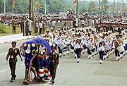 Decorated elephant leads military parade in Colombo, Sri Lanka