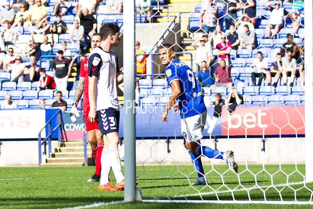 Ipswich Town forward Kayden Jackson score for Ipswich Town during the EFL Sky Bet League 1 match between Bolton Wanderers and Ipswich Town at the University of  Bolton Stadium, Bolton, England on 24 August 2019.