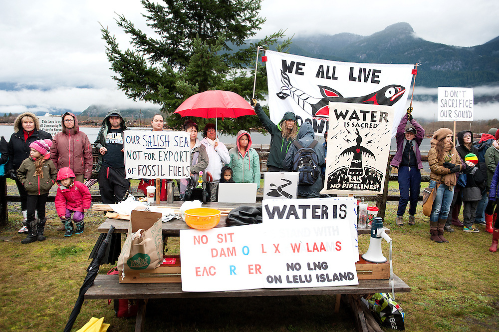 Stawamus Waterfront protest against the proposed Woodfibre LNG pipeline project.  Squamish BC, Canada.