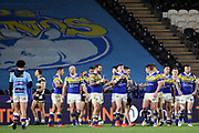 Leeds Rhinos players celebrate scoring a try during the Betfred Super League match between Hull FC and Leeds Rhinos at Kingston Communications Stadium, Hull, United Kingdom on 19 April 2018. Picture by Mick Atkins.