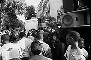 Crowd in front of speakers, Notting Hill Carnival, London, 1989