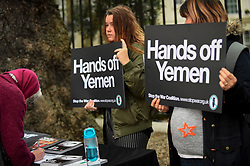 © Licensed to London News Pictures. 25/10/2018. LONDON, UK. Demonstrators take part in a protest outside the Saudi Arabian Embassy in Mayfair demanding justice for Jamal Khashoggi, a halt to arms sales to Saudi Arabia and to stop to the war in Yemen.  The demonstration has been called by the Stop the War Coalition amongst others.  Photo credit: Stephen Chung/LNP