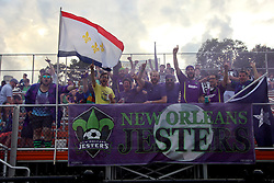 16 May 2015. New Orleans, Louisiana.<br /> National Premier Soccer League. NPSL. <br /> The Royal Court celebrate the New Orleans Jesters before kick off against Nashville FC. The New Orleans Jesters drew 1-1 with Nashville.<br /> Photo; Charlie Varley/varleypix.com