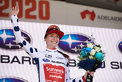Liane Lippert (GER) wins the mountain jersey after Stage 3 of 2020 Santos Women's Tour Down Under, a 109.1 km road race from Nairne to Stirling, Australia on January 18, 2020. Photo by Sean Robinson/velofocus.com