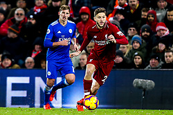 Adam Lallana of Liverpool goes past Marc Albrighton of Leicester City - Mandatory by-line: Robbie Stephenson/JMP - 30/01/2019 - FOOTBALL - Anfield - Liverpool, England - Liverpool v Leicester City - Premier League