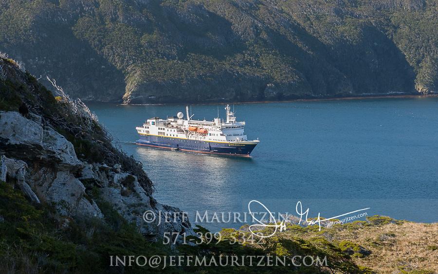 The National Geographic Explorer expedition ship visits Isla de Los Estados, Argentina.