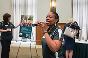 Renee Morris addresses attendees during the CCN Expo in the Walter Hall Rotunda on Wednesday, May 13, 2015.  Photo by Ohio University  /  Rob Hardin