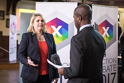 © Licensed to London News Pictures. 31/05/2017. Cambridge, UK. Secretary of State for Culture, Media and Sport KAREN BRADLEY (L) is interviewed in the spin room ahead of the BBC General Election Debate. Photo credit: Rob Pinney/LNP