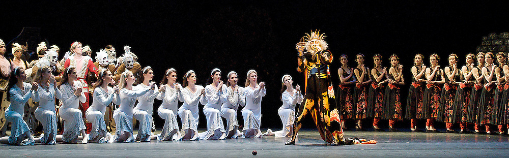 The Royal Ballet <br /> The Firebird<br /> at The Royal Opera House, Covent Garden, London, Great Britain <br /> 20th December 2012 <br /> <br /> general rehearsal <br /> Choreography by Mikhail Fokine<br /> Music by Stravinsky <br /> <br /> Mara Galeazzi as The Firebird<br /> <br /> Edward Watson as Tsarevitch <br /> <br /> Christina Arestis as Tsarevna<br /> <br /> Alastair Marriott as Kostchei <br /> <br /> <br /> Photograph by Elliott Franks