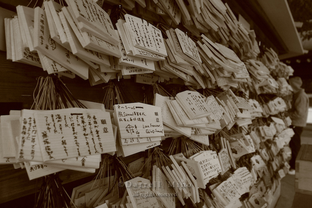 Mar 7, 2006; Tokyo, JPN; Shibuya.Wooden plaques with prayers and wishes are hung for the blessings of the deities at the Meiji-jingu Temple and Garden...Tokyo's most venerable and refined Shinto shrine honors the Emperor Meiji and his empress...Photo credit: Darrell Miho