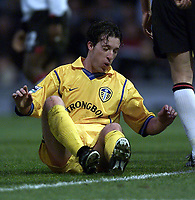 Fotball, Leeds new £11m striker Robbie Fowler picks himself up after seeing his shot saved.