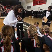 27 August 2016: The San Diego State Aztecs took on the Michigan State Spartans in game two of the Aztec Invitational at Peterson Gym on the campus of SDSU. Head coach Deitre  Collins-Parker talks with her team during a timeout in the fourth set. The Aztecs lost 3-1 to the Spartans. www.sdsuaztecphotos.com