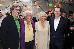 Left to right, GIORGIO LOCATELLI, ANTONIO CARLUCCIO, HRH The DUCHESS OF CORNWALL and TOM PARKER BOWLES at a party to celebrate the publication on 'Let's Eat: Recipes From My Kitchen Notebook' by Tom Parker Bowles held at Selfridge's Rooftop. Selfridge's, Oxford Street, London on 27th June 2012.