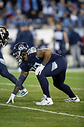 Tennessee Titans defensive end DaQuan Jones (90) gets set in a three point stance during the week 14 regular season NFL football game against the Jacksonville Jaguars on Thursday, Dec. 6, 2018 in Nashville, Tenn. The Titans won the game 30-9. (©Paul Anthony Spinelli)