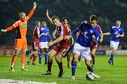 Leicester Forward Chris Wood (NZL) is challenged in the box by Middlesbrough Midfielder Grant Leadbitter (ENG) during the first half of the match - Photo mandatory by-line: Rogan Thomson/JMP - Tel: Mobile: 07966 386802 18/01/2013 - SPORT - FOOTBALL - King Power Stadium - Leicester. Leicester City v Middlesbrough - npower Championship.