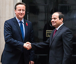 Downing Street, London, November 5th 2015. British Prime Minister David Cameron welcomes Egyptian President Abdel Fatah al-Sisi to 10 Downing Street as protests against his visit to the UK by a coalition of human rights groups take place in Whitehall.