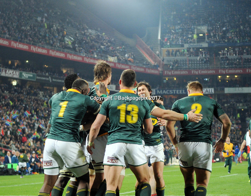 Eben Etzebeth of South Africa celebrates a try with teammates during the 2017 International Incoming Series rugby match between SA and France on 24 June 2017 at Ellis Park Stadium   © Sydney Mahlangu /BackpagePix