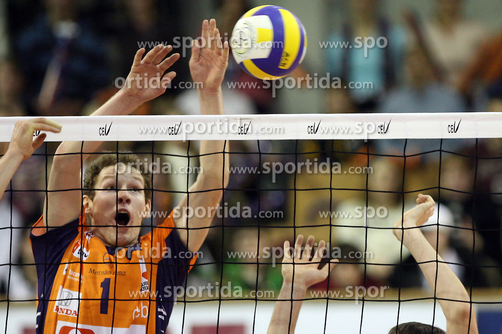 Tine Urnaut of ACH Volley, Slovenia at Indesit European Champions League match between ACH Volley from Bled, Slovenia and Dinamo Moscow, Russia at the Hala Tivoli on January 23, 2008 in Ljubljana, Slovenia. ACH Volley : Dinamo Moscow 0:3. (Photo by Vid Ponikvar / Sportida)