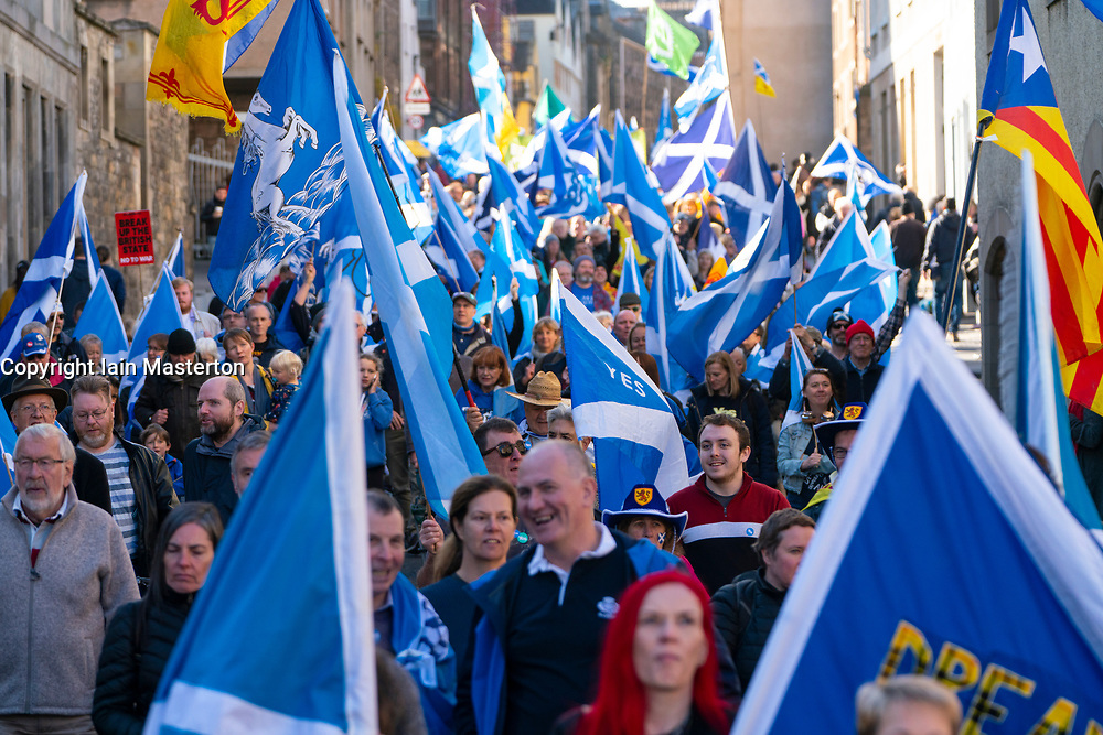 Edinburgh, Scotland, United Kingdom, 7th October 2018. All Under One Banner (AUOB) Scottish March and Rally for Independence. Pro - Scottish independence supporters walking from Edinburgh Castle to the Scottish Parliament at Holyrood. AOUB is a pro-independence organisation.