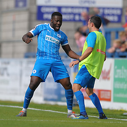 TELFORD COPYRIGHT MIKE SHERIDAN GOAL. Akwasi Asante of Chester makes it 0-1 during the National League North fixture between AFC Telford United and Chester FC at the New Bucks Head on Saturday, September 14, 2019<br /> <br /> Picture credit: Mike Sheridan<br /> <br /> MS201920-018