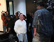 April 26, 2019: Alameda, CA, United States: Oakland Raiiders owner Mark Davis (left) talks with The Athletic reporter Vic Tafur at a press conference at the Raiders headquarters.  (Gerome Wright/Image of Sport)
