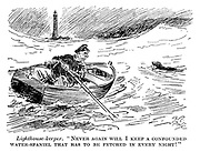 """Lighthouse-keeper. """"Never again will I keep a confounded water-spaniel that has to be fetched in every night!"""""""