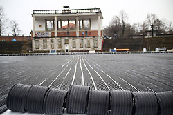 Preparing stadium Bezigrad for Winter Classic of HDD Olimpija called Telemach Ice Fest 2013, on December 27, 2012 in Stadium Bezigrad, Ljubljana, Slovenia. (Photo By Matic Klansek Velej / Sportida.com)