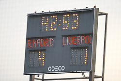 MADRID, SPAIN - Tuesday, November 4, 2014: Real Madrid CF's scoreboard records their side's 4-1 victory over Liverpool during the UEFA Youth League Group B match at Ciudad Real Madrid. (Pic by David Rawcliffe/Propaganda)