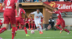 06.08.2014, Sportplatz, Fügen, AUT, Testspiel, VfB Stuttgart vs Caykur Rizespor, im Bild Carlos Gruezo (Vfb Stuttgart) Eren Albayrak (Caykur Rizespor) und Florian Klein (Vfb Stuttgart) // during a friendly Match between VfB Stuttgart and Caykur Rizespor at the Football Stadium in Fügen, Austria on 2014/08/06. EXPA Pictures © 2014, PhotoCredit: EXPA/ Jakob Gruber