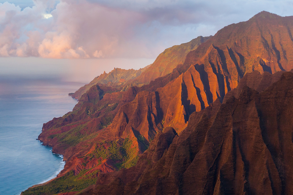 The fluted cliffs of the Na Pali Coast at sunset, Kauai, Hawaii.