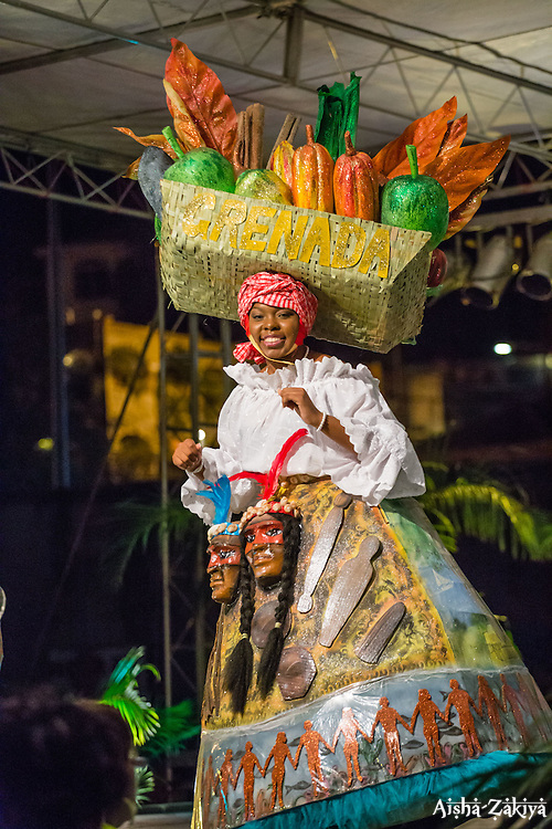 International Wear/Costume Segment.  Grenada.  Contestant #1 Kali Jackson.  St. John Festival Queen: 2015.  Winston W. Wells Ball Field.  St. John, Virgin Islands.  21 June 2015.  © Aisha-Zakiya Boyd