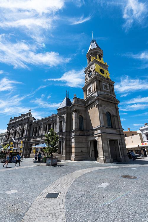 A church in a town square in Freemantle, Australia
