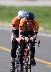 The Princeton University team of Nicholas Bennette, Nick Frey, Brian Holmes, and Austin Roach competes in the men's division 2 race.  The 2008 USA Cycling Collegiate National Championships Team Time Trial event was held near Wellington, CO on May 9, 2008.  Teams of 3 or 4 riders raced over a 20km out and back course that ran along a service road to Interstate 25.