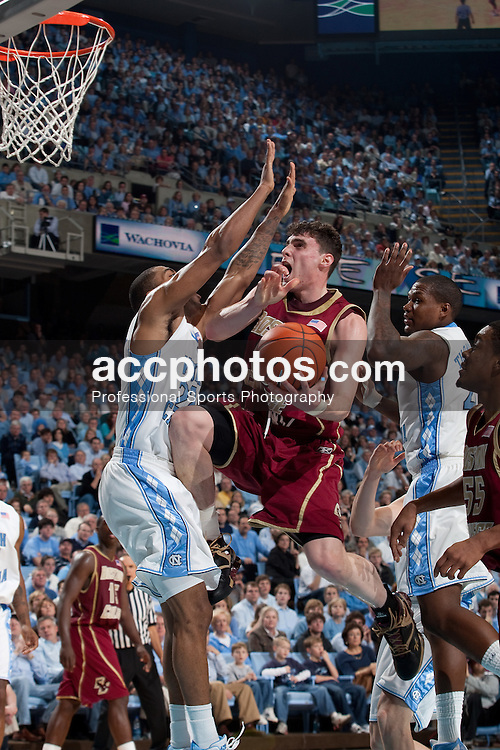 04 January 2009: Boston College Eagles forward Joe Trapani (12) during a 78-85 win over the North Carolina Tar Heels at the Dean Smith Center in Chapel Hill, NC.