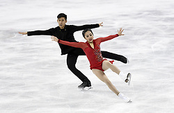 PYEONGCHANG, Feb. 15, 2018  Sui Wenjing (R) and Han Cong of China fall during the pair skating free skating of figure skating at the 2018 PyeongChang Winter Olympic Games, in Gangneung Ice Arena, South Korea, on Feb. 15, 2018. Sui Wenjing and Han Cong won the silver medal in the pair skating event with 235.47 points in total. (Credit Image: © Ju Huanzong/Xinhua via ZUMA Wire)