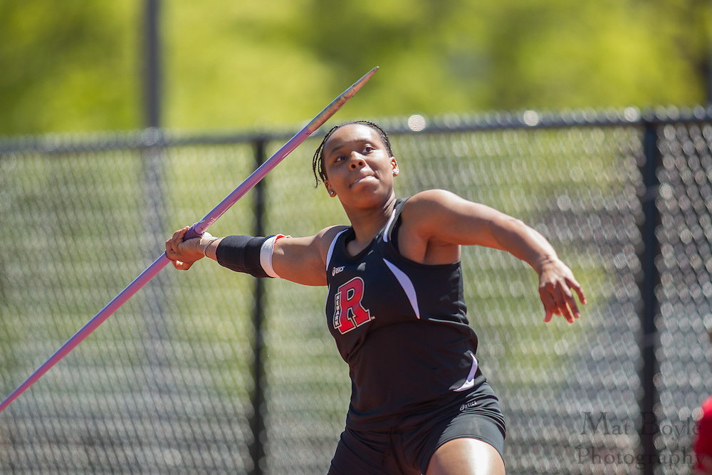 Rutgers Newark sophomore Mercedes Glover competes in Women's javelin at the NJAC Track and Field Championships at Richard Wacker Stadium on the campus of  Rowan University  in Glassboro, NJ on Saturday May 4, 2013. (photo / Mat Boyle)