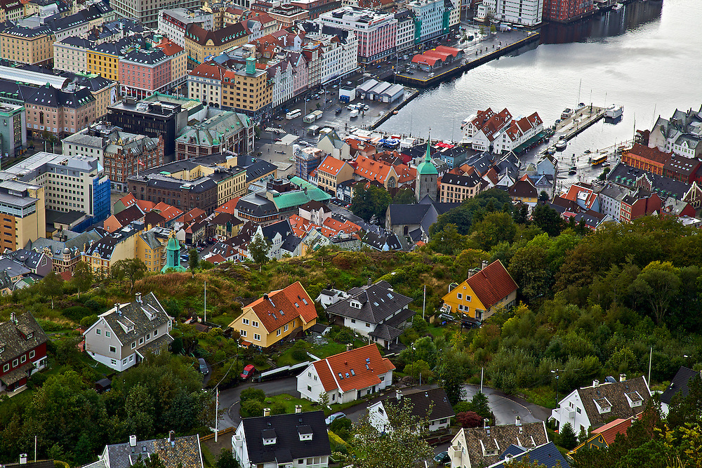 The view of the harbor town of Bergen, Norway, as seen from above on Mount Fløyen