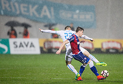 Franko Andrijasevic of HNK Rijeka vs Zvonimir Kozulj of HNK Hajduk during football match between HNK Rijeka and HNK Hajduk Split in Round #15 of 1st HNL League 2016/17, on November 5, 2016 in Rujevica stadium, Rijeka, Croatia. Photo by Vid Ponikvar / Sportida